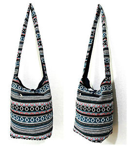 COTTON CANVAS BOHO HIPPY BEACH SLING BAG HIPPIE HANDBAG SHOULDER FESTIVAL GYPSY