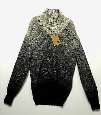 Yigal Azrouel New York Small 100% Wool Gradation Beige Black Crewneck Sweater