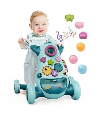 Geyiie 2 in 1 Baby Sit to Stand Learning Walker, Infant Push Walking Toy with...