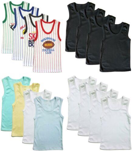 4-Pack Boys Undershirt Cotton Tank Top Sleeveless Plain White Black Toddler Kids
