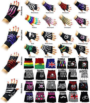 Fingerless Gloves Mens Womens Hand Warmer Mittens Design Style Various - Womens Fingerless Gloves