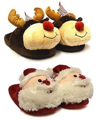 Damen Mädchen Neu Unisex Weihnachten Neuheit Santa Rudolph Komfort Hausschuhe UK