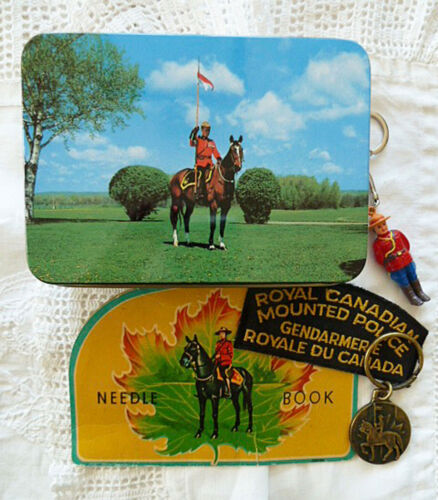 RCMP Lot Hinged Tin, Keychains, Needle Book, Patch Royal Canadian Mounted Police