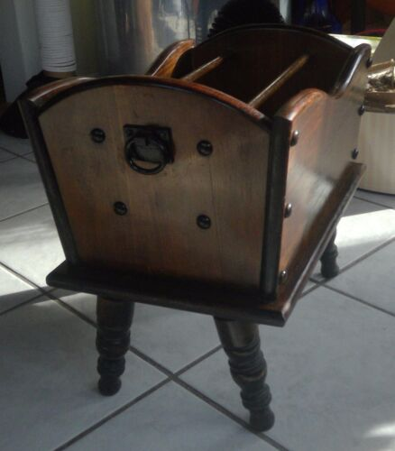 Early American Style Magazine Rack, Vintage 1970's, dark stain wood, metal rings