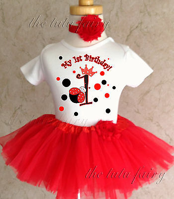 Red Princess Ladybug Crown 1st First Birthday Tutu Outfit Shirt Set Party Dress