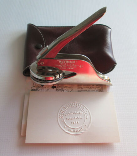 1976 CA Incorporated Portable Hand Press Pocket Seal & Pouch Offical Marking Co.