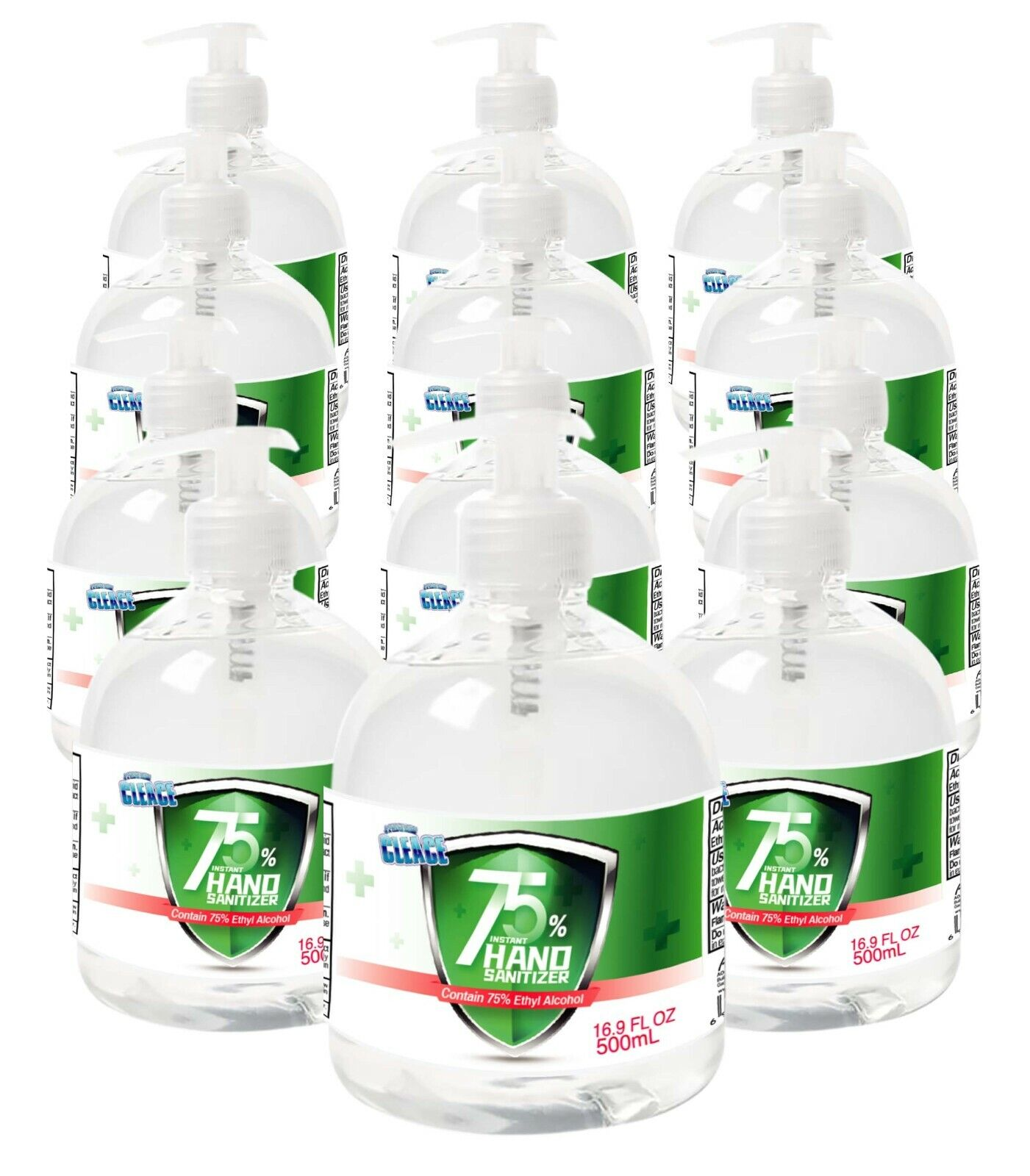 [12-PACK] Cleace Advanced 75% Alcohol Hand Sanitizer Gel, Large 16.9 Fl. Oz x 12 Hand Sanitizers