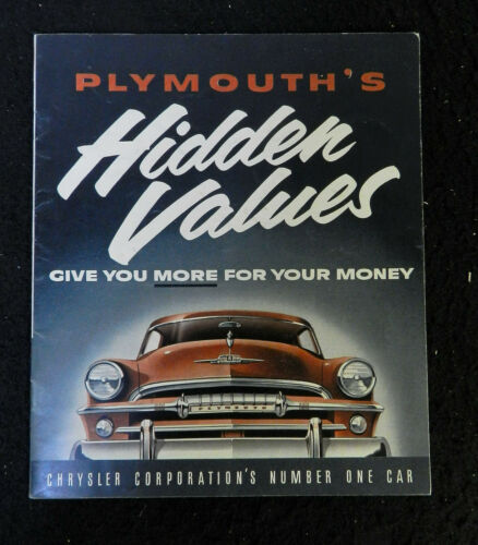 1950s PLYMOUTH HIDDEN VALUES CHRYSLER AUTOMOBILE SALES BROCHURE ORIGINAL
