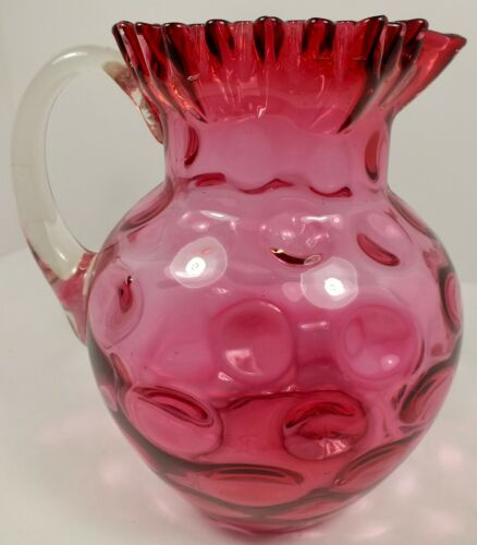 Large Antique Northwood Cranberry Glass Pitcher ~ Coin Spot  Inverted Thumbprint