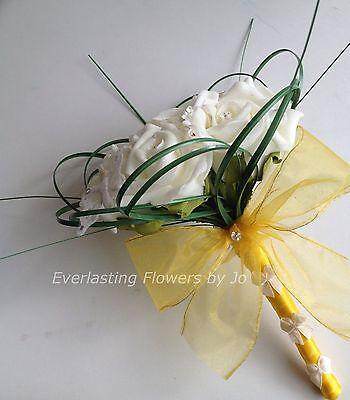 ARTIFICIAL IVORY YELLOW DAISY FOAM ROSE WEDDING FLOWER GIRL BOUQUET WAND FLOWERS - Daisy Bouquet Wand