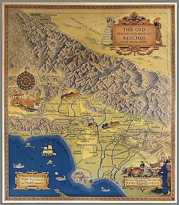 1937 Antique Map POSTER old Spanish and Mexican ranchos Los Angeles 8619000