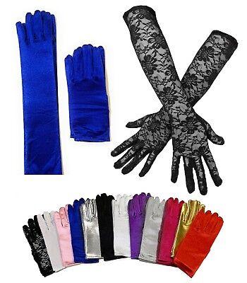Ladies Short Wrist Gloves / Long Thin Satin Magician Party Dress Prom Wedding  - Short Satin Gloves