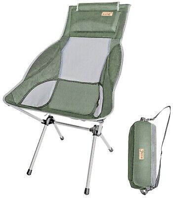 High Back Backpack Chair - Ultralight High Back Folding Camping Chair With Headrest Outdoor Backpacking