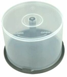5 cd dvd plastic cake tub holds 50 disks spindle storage box empty new case ebay. Black Bedroom Furniture Sets. Home Design Ideas