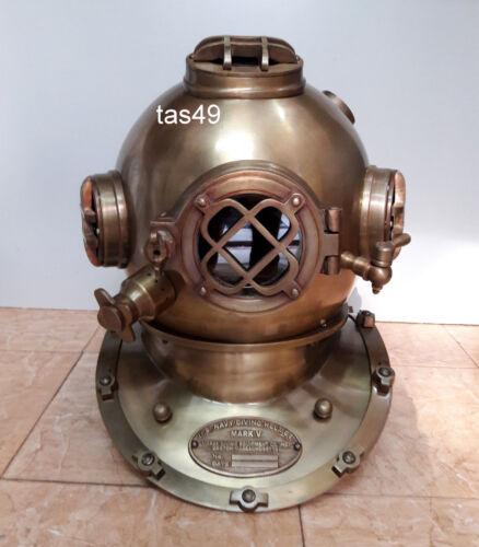 "Scuba 18"" Diving Helmet Antique U.S Navy Mark V Vintage Divers Helmet maritime"
