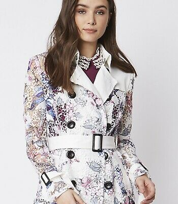 COAT - LACE TRENCH BY JAYLEY UK 14 RRP £145