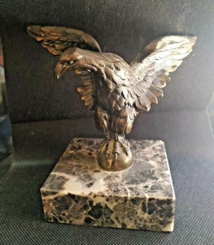 Old rare beautiful Bronze Statue  Imperial Eagle in a a marble Base