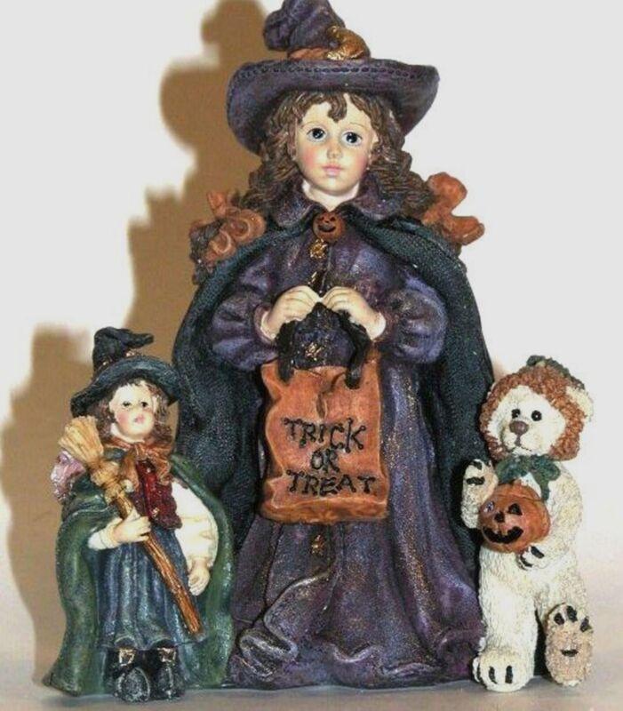 Boyds Bears Halloween Mallory, Patsy, JB, Dollstone resin 1997 NIB