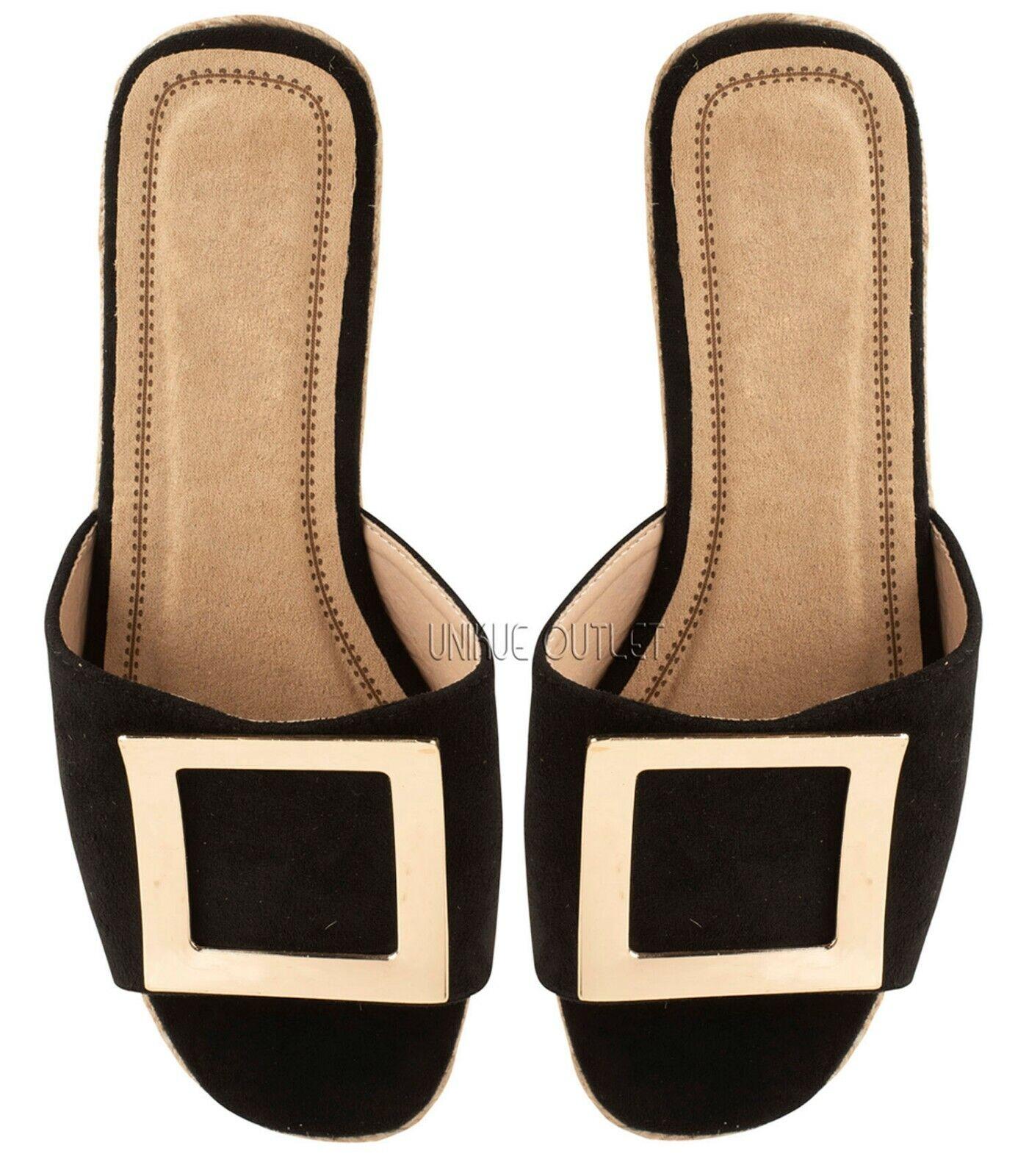 Details about  /Womens Ladies Platform Sliders Flatform Slip On Summer Sandals Mules Shoe Size