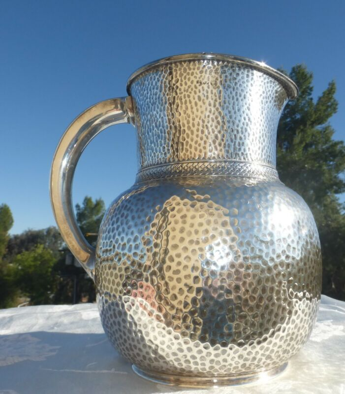 MAGNIFICENT ENGLISH GEORGIAN 1830 Hammered STERLING SILVER PITCHER Amazing piece