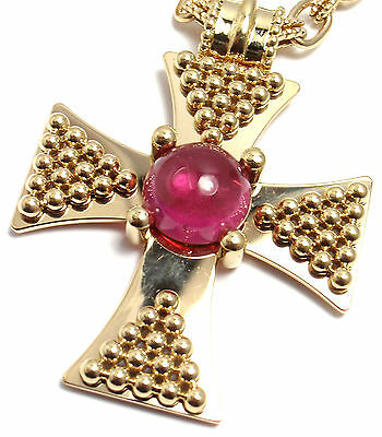 Rare! Authentic Chanel 18k Yellow Gold Pink Tourmaline Cross Pendant Necklace