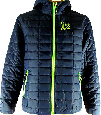Seattle Seahawks inspired 12 Go Hawks Packable Insulated Jacket Navy Lime Hooded](Seattle Seahawks Gear)