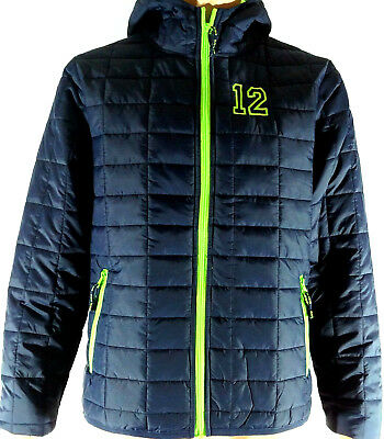 Seattle Seahawks inspired 12 Go Hawks Packable Insulated Jacket Navy Lime Hooded - Seattle Seahawks Gear