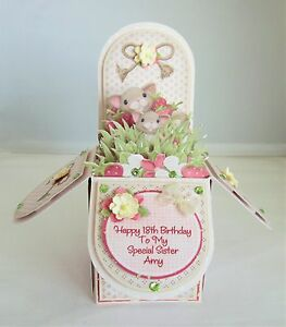 Handmade pop up box personalised special friend/mum/sister/nan birthday card