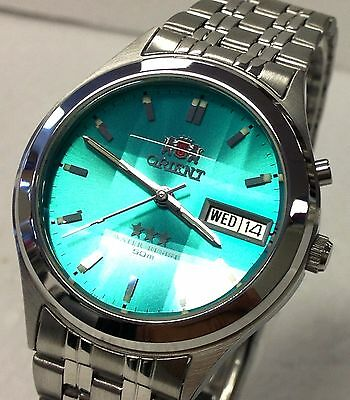 New Orient Green Dial Men's Faceted Automatic  Silver Watch  W  Box