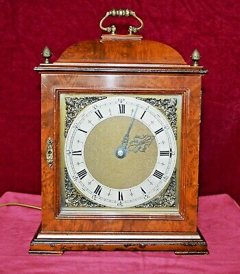 Antique Smiths Figured Walnut Westminster Chime Electric Bracket Clock