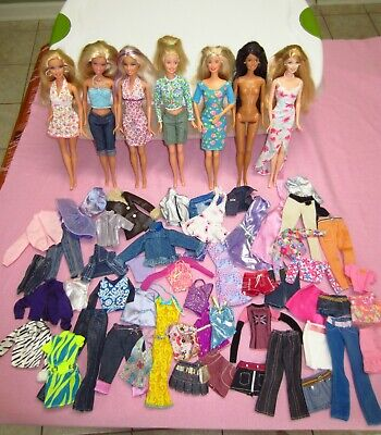 Lot NARROW WAIST BARBIEs with CLOTHES that FIT! Belly Button Fashion MATTEL 90s
