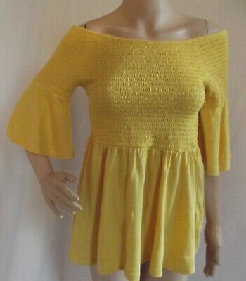 BARDOT TOP Large YELLOW GOLD SMOCKED OFF SHOULDER BELL SLEEVE SHIRT Daisy Duke l for sale  Barnesville