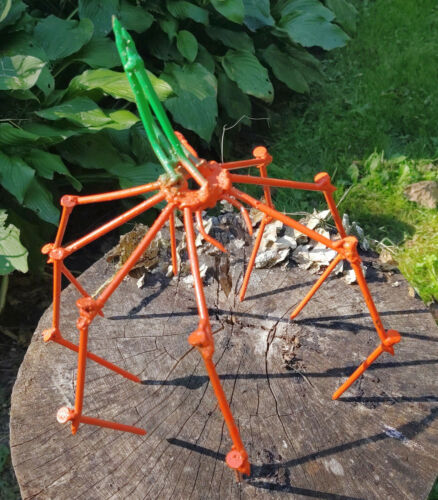 Pumpkin Spider Metal Sculpture Orange with Green Tail Spider OAK