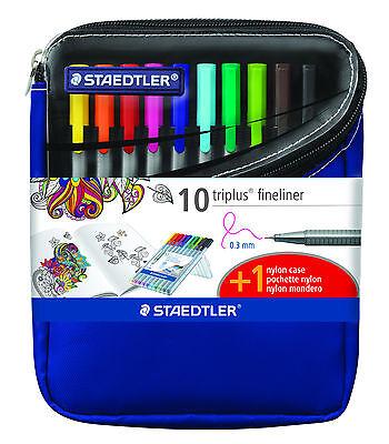 Staedtler Pen Triplus Fineliner0.3 Mm 10 Pack W Bonus Nylon Pencil Case