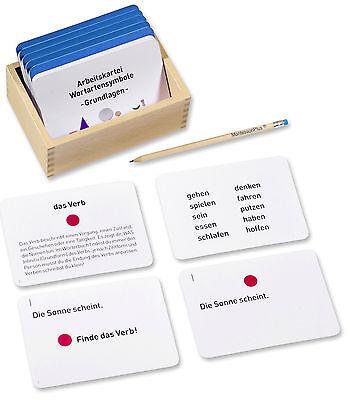 Arbeitskartei Montessori-Material Wortartensymbole Grundlagen, 100 Karten