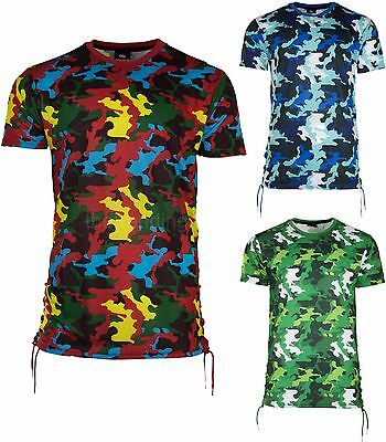 Men Camo T-shirt Shirt Red Jaw strings White Sizes M-2XL Imperious Long Length  (Jaw String)
