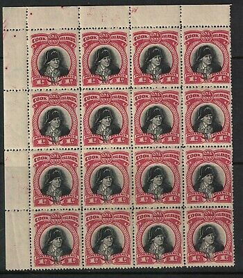 cook islands - captain cook issue 1d -sg138 1942 NZ watermark block - MInt NH