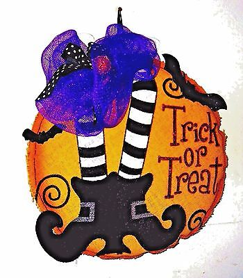 Trick or Treat  Halloween Lighted Wall or Door Hanging  BURLAP - Halloween Hanging Door Decorations