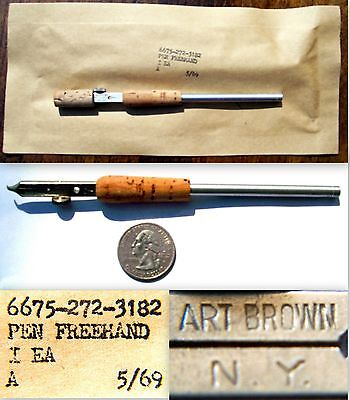 """VINTAGE 1969 NEW SEALED """"NOS"""" ART BROWN NY #7 CALLIGRAPHY FREEHAND FOUNTAIN PEN"""