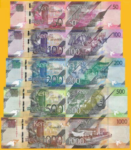 Kenya Full set 50,100,200,500,1000 Shillings P-NEW 2019 UNC Banknotes