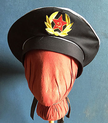 Russian Sailor Hat, Ribbons & Authentic Soviet Patch on front (Costume) - Russian Hat Costume