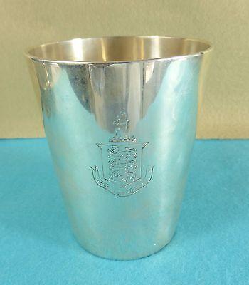 Superb Georgian Sterling Silver Beaker Cup Crest Lions John Emes London 1799