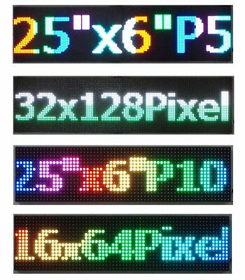 Full Color Led Sign 25x 6.5 Scrolling Programmable Message Board Pc Controlled