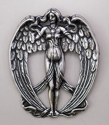 #3332 ANTIQUED SS/P FULL WINGED ANGEL BROOCH - 1 Pc