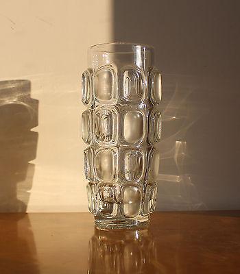 60er 70er Böhmen Linsen Vase Pressglas moulded Glass