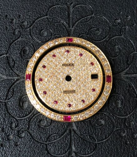 CUSTOM 18K Diamond BEZEL and DIAL with Rubies FOR ROLEX 31MM President Watch