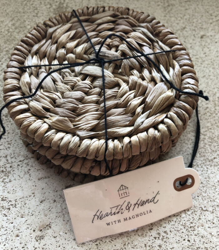 New Rattan Woven Coaster Set By Hearth & Hand With Magnolia 4 Pack Retro