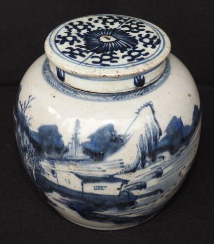 Antique Chinese Blue and White Porcelain Ginger Jar w/ Lid, Fishing Village Art