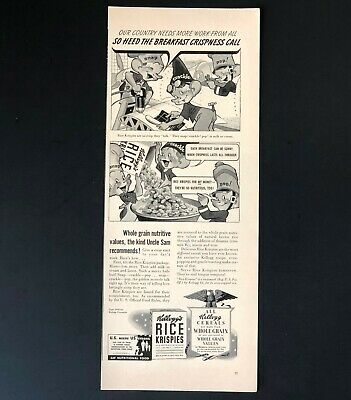 1942 Kelloggs Rice Krispies Advertisement WW II Airplane Building Vtg Print AD