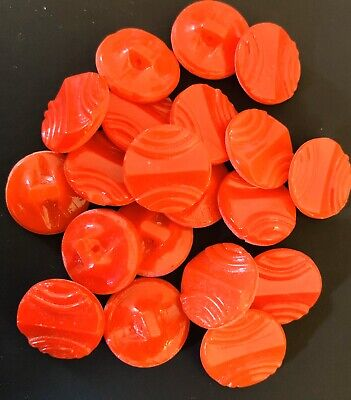 20 Bright Red Vintage Glass Buttons 1.3cm Diameter